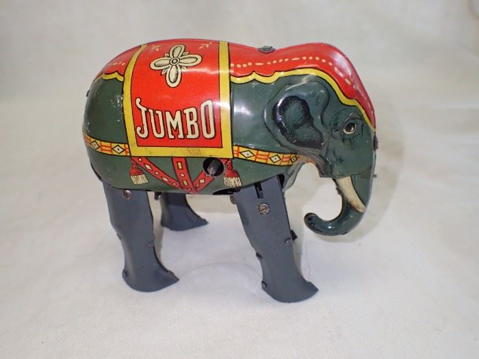 VINTAGE EARLY JUMBO ELEPHANT GERMAN WIND UP TIN TOY D.R.G.M