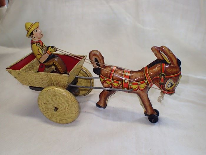 1940s MARX DONKEY CART AND DRIVER TIN WIND UP TOY