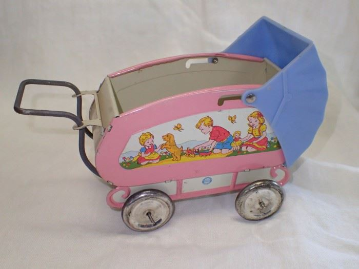 TIN BABY BUGGY PINK / BLUE TOP  1940'S OHIO ART CO TIN DOLL PRAM HARD TO FIND