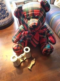 NEW RED PLAID BEAR / BRASS & MOTHER OF PEARL OPERA GLASSES 2 - SETS