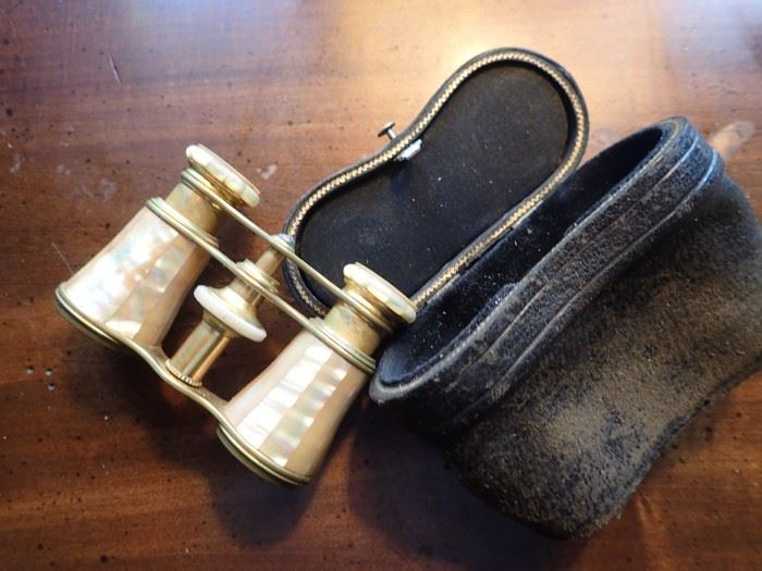 BRASS & MOTHER OF PEARL OPERA GLASSES IN CASE