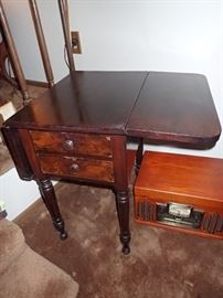 DROP LEAF SIDE TABLE WITH DRAWERS