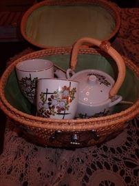 TEA SET IN BASKET