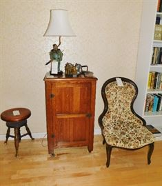 Piano stool, music cabinet, slipper chair