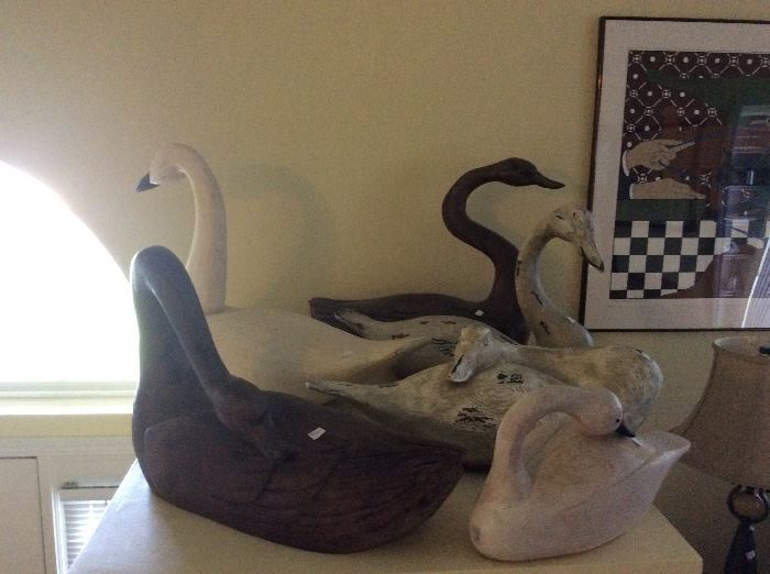 Carved Wooden Swans