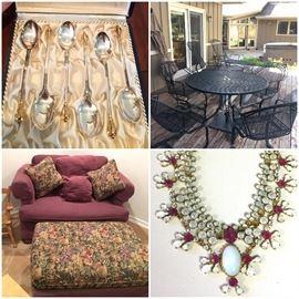 Georg Jensen Sterling, Iron Patio Furniture, Chair W/Ottoman, Antique Jewelry