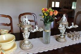 Antique Cherub Candelabra Set