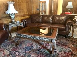 Excellent Metal Scroll Work Glass Top Coffee Table with Matching End Tables, Leather & Tack Couch