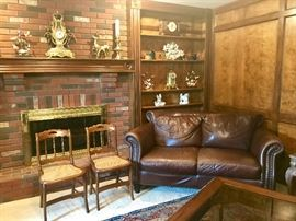 Leather & Tack Loveseat, Vintage Cane Seat Chairs