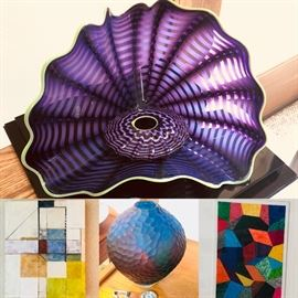 Dale Chihuly Persian series sculpture, Susan Squires encaustic, a fine art glass vase center and Dan Tranberg painting.