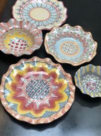 Mackenzie Child's Majolica art pottery ruffled bowls