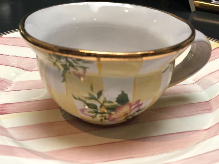 Mackenzie Childs Parchment Check enamel teacup