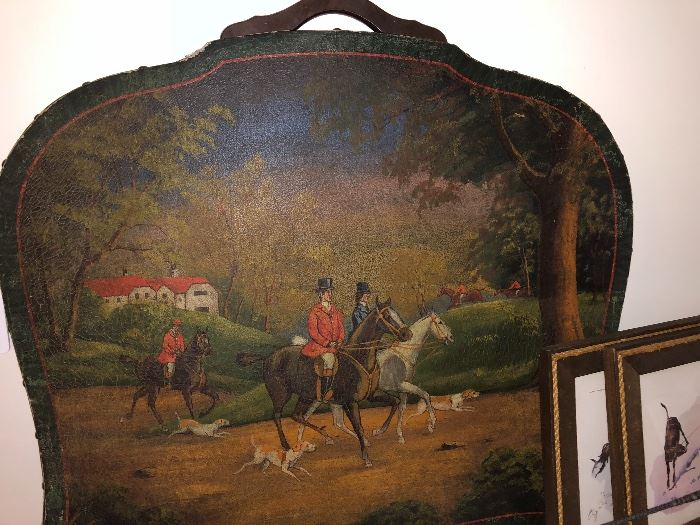 Antique English Foxhound painted fire screen