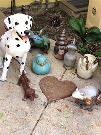 Dalmatian dog statue and vintage cast iron dog boot scraper