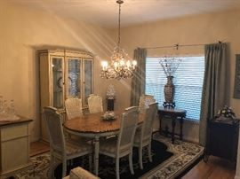 Stanley dining room set.  Table, extra leaf, six chairs.  China cabinet, lighted.  Server/bar.