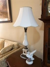Pair of white and gold lamps