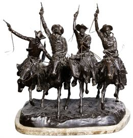 After Frederic Remington American 1861 1909 Coming Thru the Rye Bronze Statue