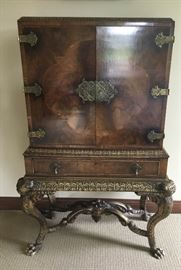 Claw Foot Ornate Wood Cabinet