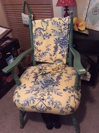 Chair w/French toile textile