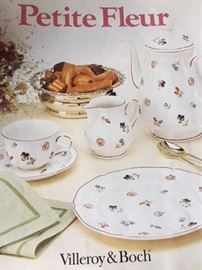 "PETITE FLEUR BY VILLEROY & BOCH FOUR – 5 PIECE PLACE SETTINGS (20 PIECES) TEA CUPS 7 ¾ OZ. #1065 SAUCERS #1065 BREAD OR SWEET PLATES #1083 DINNER PLATES 10 1/2"" #1083 SOUP~CEREAL BOWLS 4 5/8"" #1075 FOUR ~ 6 ¾"" SALAD PLATES #1043 ONE ~ 10 ¼"" DEEP ROUND #1059 ONE ~ 14 ¼"" X 10 1/14"" LASAGNE DISH #926:0 ONE ~ 9 ½"" QUICHE #927/5 TWO ~ 11 1/8"" SANDWICH PLATES #1074 TWO ~ 9 ½"" PICKLE DISHES #1052 ONE ~ 17"" OVAL PLATTER #1057"