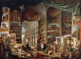 """Gallery of Ancient Rome"" ….painting at the Louvre By Giovanni Paola Panini Circa 1758 Framed poster with plexi face 58""X44""  https://www.tripimprover.com/blog/ancient-rome-by-giovanni-paolo-panini"