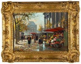 """Edouard-Léon Cortès (French, 1882-1969) """"Flower Seller at La Madeleine"""""""