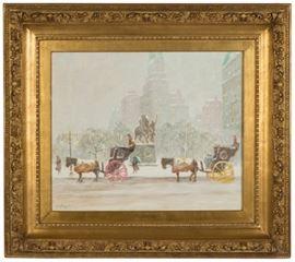 "Guy Carleton Wiggins (American, 1883-1962) ""Winter at the Plaza"""