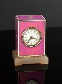 A Belle Epoque Enamel & Agate Desk Clock, By Cartier