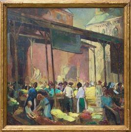 """Alexander Oscar Levy (American, 1881-1947) """"Chippewa Market"""""""
