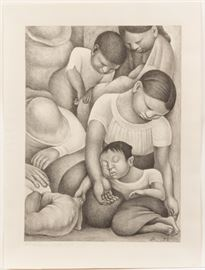 """Diego Rivera (American, 1886-1957) """"El sueño (La noche de los pobres)"""" / Sleep (The night of the poor)"""