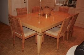 Contemporary Dining Room Table & 10 Double Woven Chairs