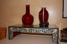 Decorative Urns and Inlaid Table