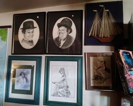 Laurel and Hardy framed pictures and assorted framed pictures