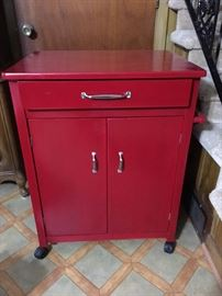 Pretty Red Rolling Cart