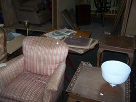 PAIR OF LAMP TABLES, OLD CHAIR & MORE