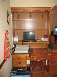 BASSETT DESK WITH HUTCH AND AT&T TYPEWRITTER (COMPTER AND CHAIR NOT INCLUDED)