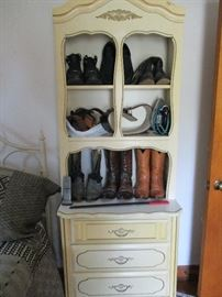 FRENCH PROVINCIAL BEDROOM PIECE WITH BOOTS AND BELTS