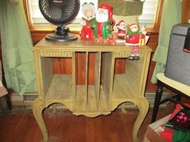VINTAGE CABINET AND CHRISTMAS ITEMS