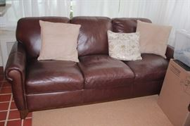 Leather Sofa and Accent Pillows