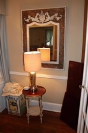 Decorative Framed Mirror, Round Wood Side Table and Table Lamp
