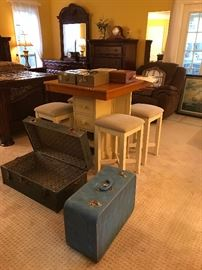 Bistro Table, Antique - Blue Trunk, WW II Army Footlocker, Tin Boxes with Key, Plastic Check Keeping Boxes