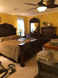 Shell Queen Bed with Matching Night Stand, Dressor w/Mirror & Chest of Drawers
