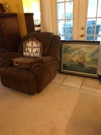 "Microfiber Recliner, Pick-nic Basket, Tallship Print ""Thru The Lifting Fog"" by G Emery Stowe"