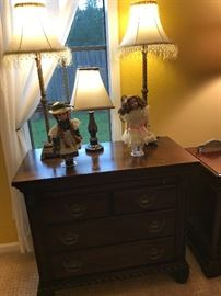 Chest of Drawers Bedside Table, Anne of Green Gables Doll & another Collectable Doll on a stand. frilly Lamp set