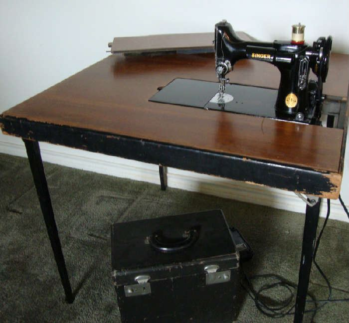 Vintage Featherweight Sewing Machine with Table and Case