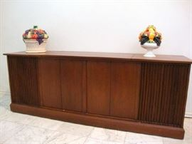 Vintage Garrard Stereo Cabinet  - Walnut and on casters for easy movement