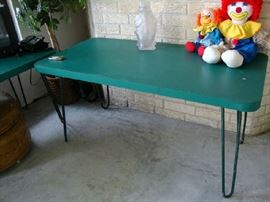 We have four of these Turquoise tables with hairpin legs.  very cute