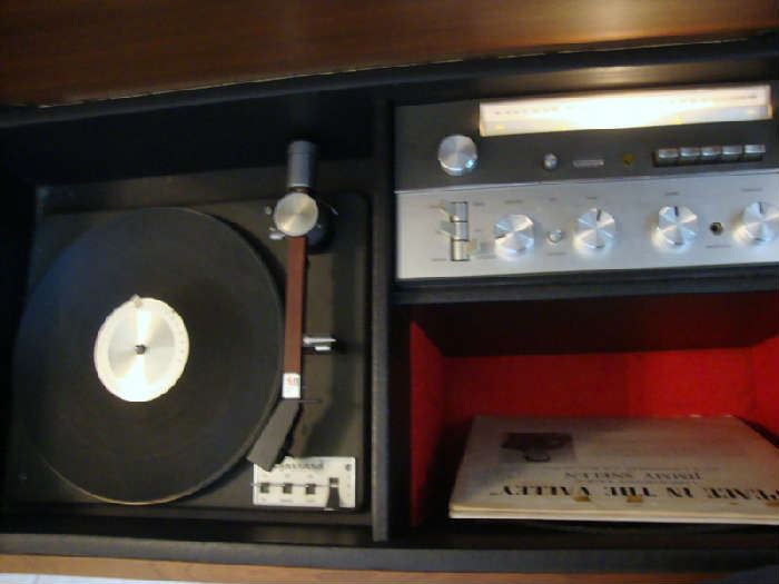 inside Vintage Garrard Stereo Cabinet