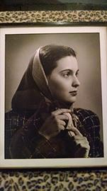 GREAT ...VINTAGE 40S BLACK/ WHITE WOMAN  FRAMED PRINT