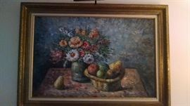 -**BEAUTIFL OIL PAINTING ...FLORAL /FRUIT